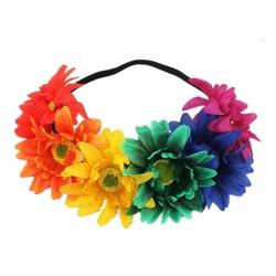WIANEK opaska NA GUMCE GERBERY kwiaty TĘCZOWY - 34929