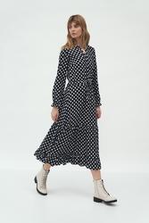 Długa sukienka z falbanką - kropki