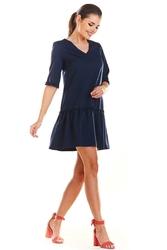 Granatowa Mini Sukienka z Dekoltem V