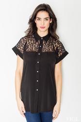 Czarna koszulowa bluzka z koronkowym karczkiem w cętki