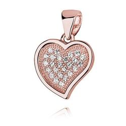 Srebrna zawieszka pr.925 serce z cyrkoniami różowe złoto - różowe złoto