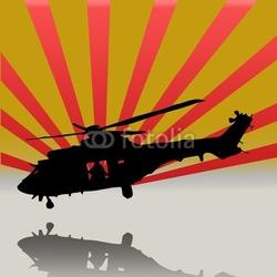 Obraz na płótnie canvas trzyczęściowy tryptyk śmigłowiec ratowniczy superpuma
