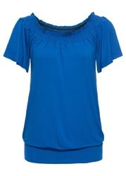 Shirt z dekoltem quot;carmenquot; bonprix lazurowy
