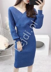 Dwuczęściowy niebieski komplet  z metalicznymi drobinkami , spódnica i bluzka 357