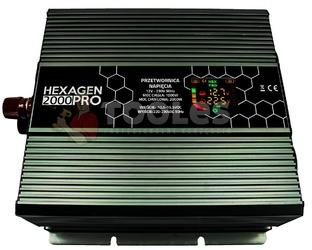 Przetwornica napięcia prądu hex pro 2000 lcd 12v230v2000w volt polska