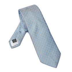 Elegancki błękitny krawat van thorn w pomarańczowe kropki
