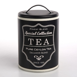 Pojemnik  puszka na przyprawy, herbatę i kawę altom design okrągła czarna tea