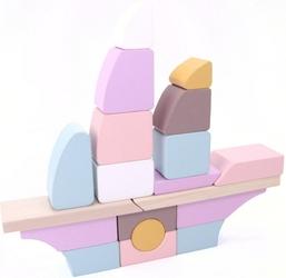 Cubika, zestaw klocków drewnianych statek 19 elem. uszkodzone opakowanie