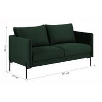 Sofa dwuosobowa kingsley ciemnozielona welur nowoczesna