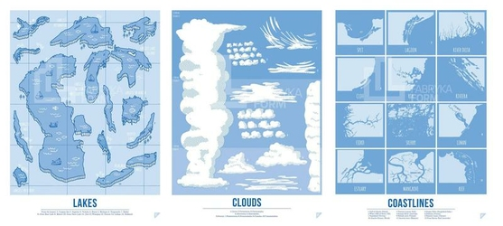 Plakat Lakes, Clouds i Coastlines w zestawie 3 szt.