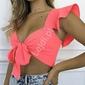 Krótka bluzeczka z falbaną w modnym neonowo różowym kolorze