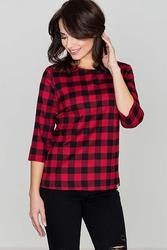 Czerwonaczarna szykowna bluza w kratkę z rękawem 34