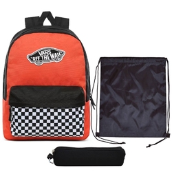 Plecak szkolny vans realm paprika-checkerboard + worek + piórnik