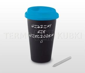 Kubek termiczny ceramiczny 350 ml arti czarnyniebieski
