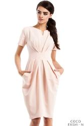 Różowa Marszczona Sukienka z Kieszeniami