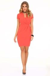 Sukienka Mini Koralowa z Dekoltem V