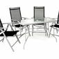 Zestaw mebli ogrodowych stół i 4 krzesła z regulowanym oparciem