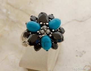 Irydium - srebrny pierścień perły onyksy turkusy