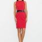 Czerwona sukienka ołówkowa z kolorową szarfą