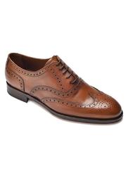 Eleganckie jasnobrązowe skórzane buty męskie typu brogue 11