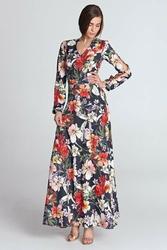 Granatowa sukienka maxi w kwiaty