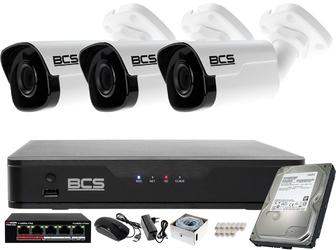 Zestaw monitoringu bcs point rejestrator ip + 3x kamera fullhd + akcesoria