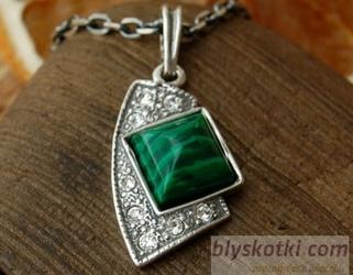 Flos - srebrny wisior z malachitem i kryształkami