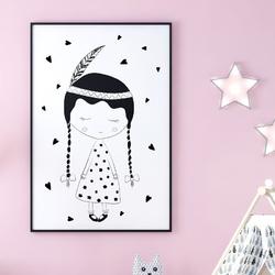 Lovely girl - plakat dla dzieci , wymiary - 40cm x 50cm, kolor ramki - czarny