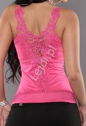 Różowa koszulka z koronką, top damski  00p5