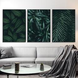 Zestaw trzech plakatów - greenery design , wymiary - 60cm x 90cm 3 sztuki, kolor ramki - biały