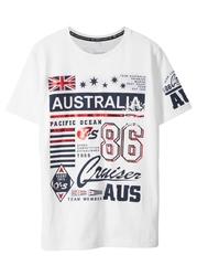 T-shirt bonprix biały z nadrukiem