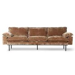 Hkliving :: sofa retro 4-osobowa aksamitny sztruks w kolorze postarzanego złota