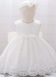 Elegancka dziecięca sukienka na chrzciny w komplecie z opaską