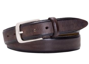 Elegancki brązowy pasek skórzany męski z ciemniejszymi brzegami 100