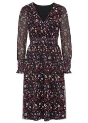 Sukienka z siatkowego materiału z nadrukiem i przeszyciem cienkimi gumkami bonprix czarno-pomarańczowo-czerwony w kwiaty
