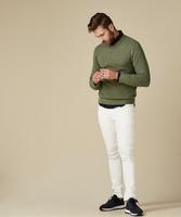 Pullover v-neck z fakturą zielony s