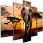 Obraz - wędrówka słonia 5-częściowy szeroki