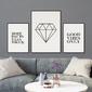Classic diamond - komplet trzech plakatów w ramach , kolor ramki - czarny, wymiary - 30cm x 20cm 2 sztuki + 50cm x 40cm 1 sztuka