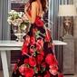 Długa czarna sukienka w czerwone kwiaty  - megi