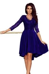 Wieczorowa asymetryczna sukienka z koronką - chabrowa