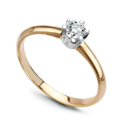 pierścionek klasyczny złotoi brylant