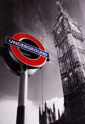 London underground sign and big ben - obraz na drewnie