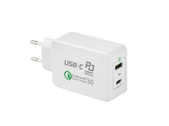 NATEC Ładowarka sieciowa 240V - 2x USB 5V3A Power Delivery + Quick   Charge 3.0 Extreme Media