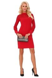 Czerwona elegancka wizytowa sukienka z transparentnym rękawem