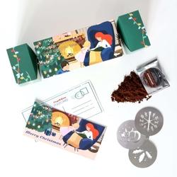 Świąteczny bożonarodzeniowy cracker z kawą coffee mood  - 14 różnych smaków kawy + szablon do kawy