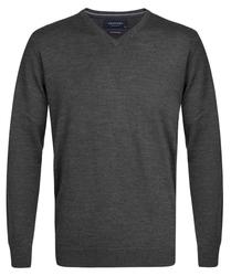 Elegancki antracytowy sweter Prufuomo z delikatnej wełny merynosów XL