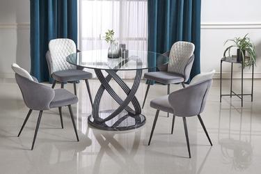 Stół designerski okrągły - szklany blat - metalowa noga - 120 cm - optico