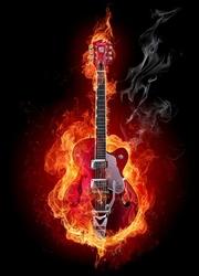 Ognista gitara - fototapeta