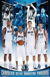 Dallas Mavericks - Chandler, Ellis, Nowitzki, Parsons - plakat