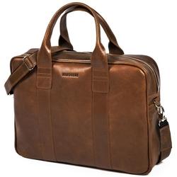 Skórzana torba męska na laptopa brodrene r01 jasnobrązowa - j. brązowy